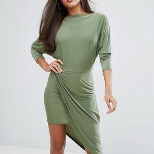 Club L Slashed Neck Midi Wrap Dress in Olive Green